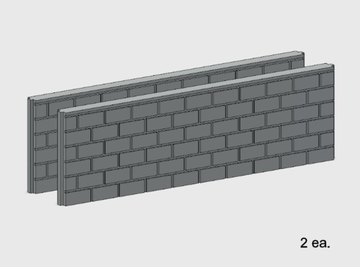 5' Block Wall - 2-Long Jointed Wall Splices 3d printed BWJ-019