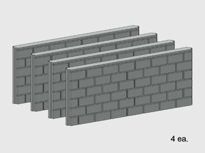 5' Block Wall - 4-Med Jointed Splices 3d printed Part # BWJ-024