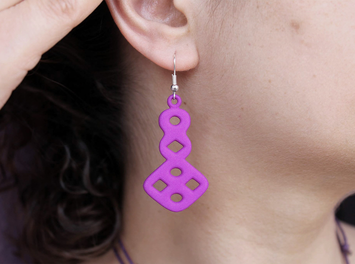 Circles & Squares Earrings 3d printed Printed in Purple Strong & Flexible Polished Plastic