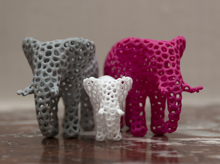 The Osseous Elephant 3d printed The larger elephants shown here in pink and metallic plastic are also available from my shapeways shop