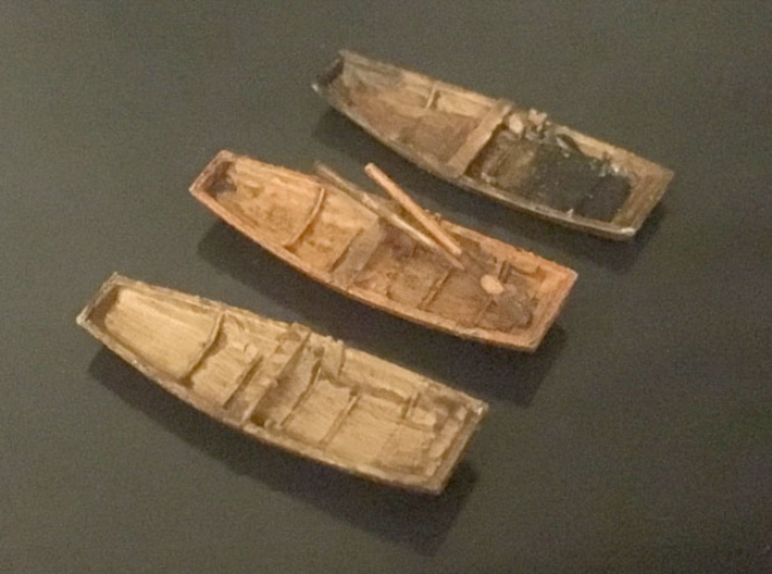 Three Rowboats, Scale N 3d printed