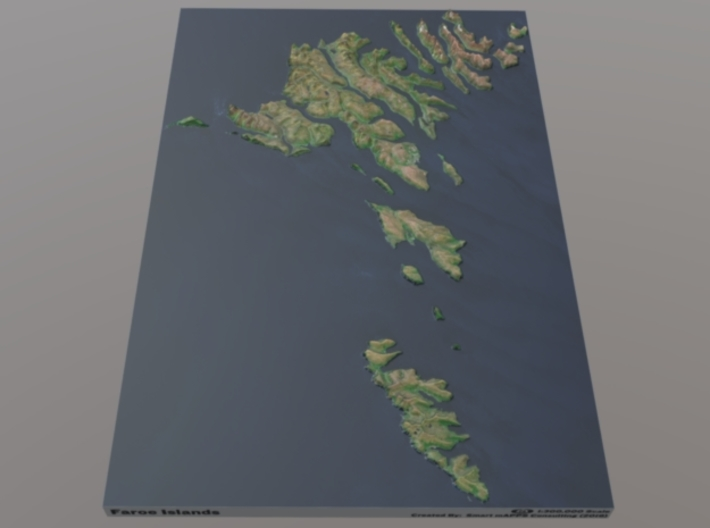 Faroe Islands Relief Map: 1:300,000 Scale 3d printed