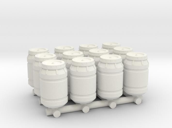 1-87 Scale Olive Barrels x12 3d printed