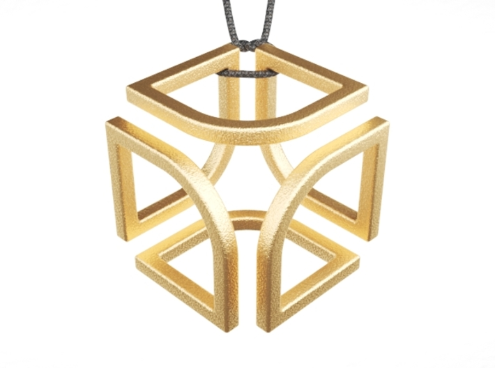 Cube Pendant Type B 3d printed Polished Gold Steel