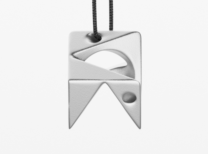 Cube Pendant Type A 3d printed Polished Nickel Steel