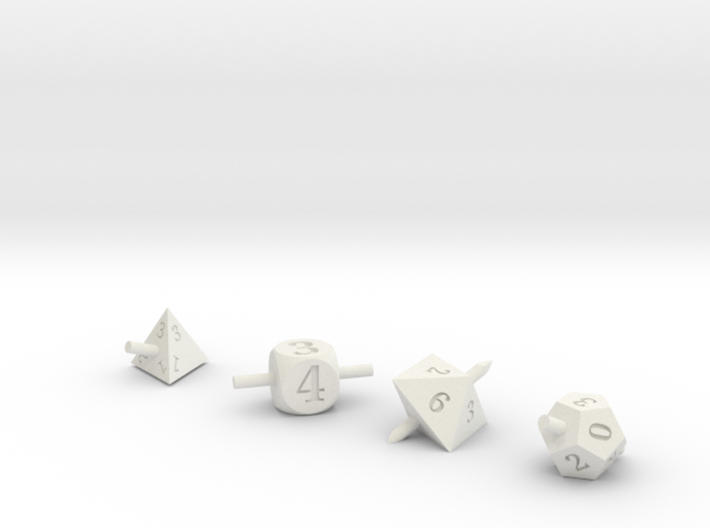 Skewered Dice 3d printed