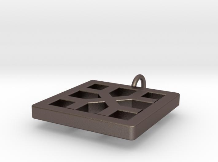 Breeze Block Pendant #2 - Polished Steel 3d printed