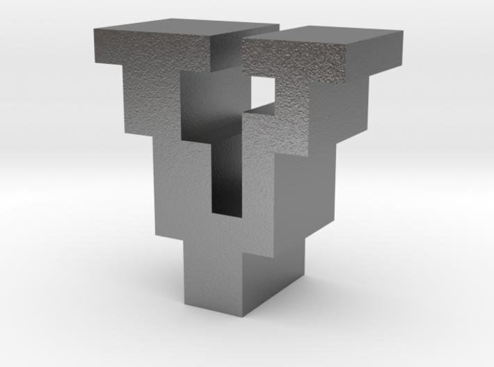 """V"" inch size NES style pixel art font block 3d printed"