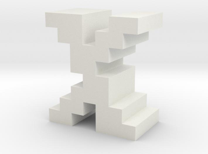 """X"" inch size NES style pixel art font block 3d printed"