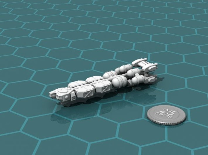 Bulk Freighter 2 3d printed Render of the model, with a virtual quarter for scale.