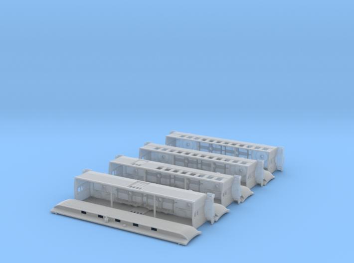 Nn3 4 car Passenger Train, w/ combine 3d printed