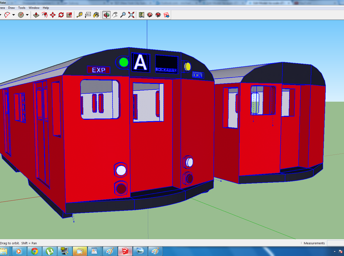 ho scale r27/r30 subway car new york city (pair) 3d printed showing both types of ends, both cars included