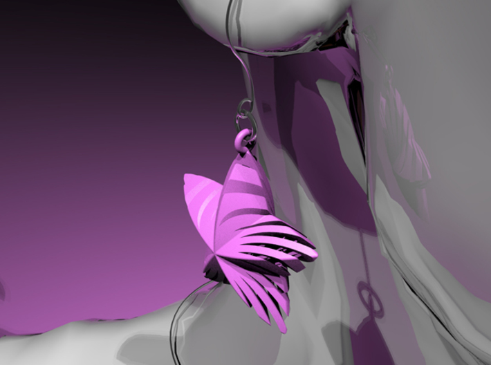 Tortuous Stars Earrings 3d printed Purple Strong & Flexible Polished