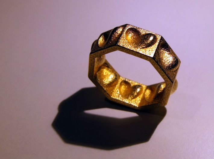 """Half Hearted Ring ... a ring with a twist  3d printed """"Half Hearted"""",    a ring with a twist !"""
