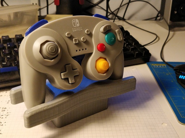 Video Game Controller Stand 3d printed PowerA GameCube Controller in stand