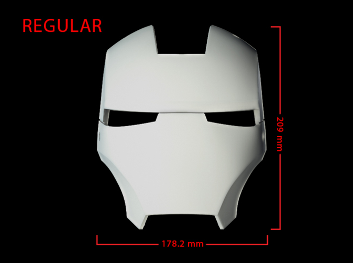 Iron Man Helmet Face Shield (Regular) Part 2 of 3 3d printed CG Render (Front Measurements)