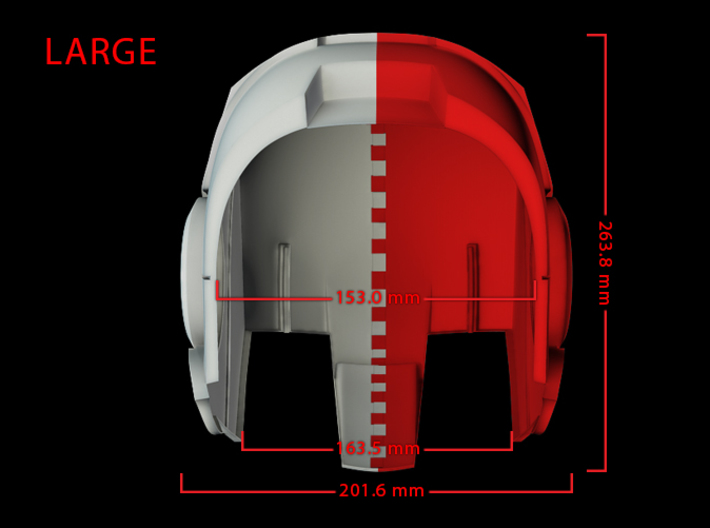 Iron Man Helmet - Head Right Side (Large) 1 of 4 3d printed CG Render (Bottom measurements, Head Right with Head Left)