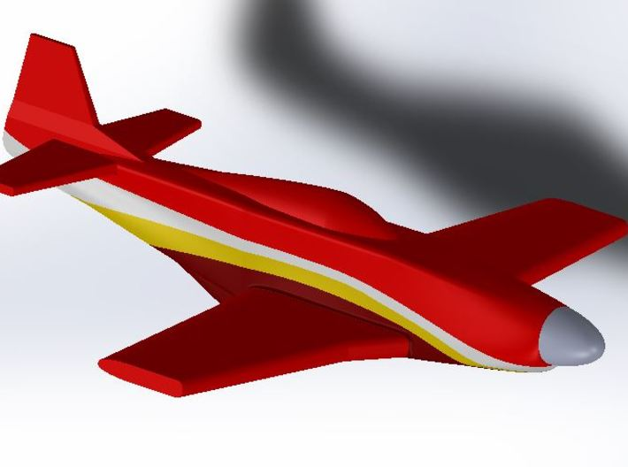"P-51 ""Dago Red"" Yellow Stripe 3d printed"