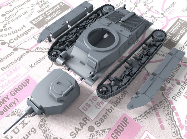 1/120 SARL 42 Tank (FCM 3 Man Turret 47mm SA37 Gun 3d printed 3D render showing product detail