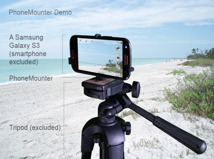 Huawei P Smart+ 2019 tripod & stabilizer mount 3d printed A demo Samsung Galaxy S3 mounted on a tripod with PhoneMounter