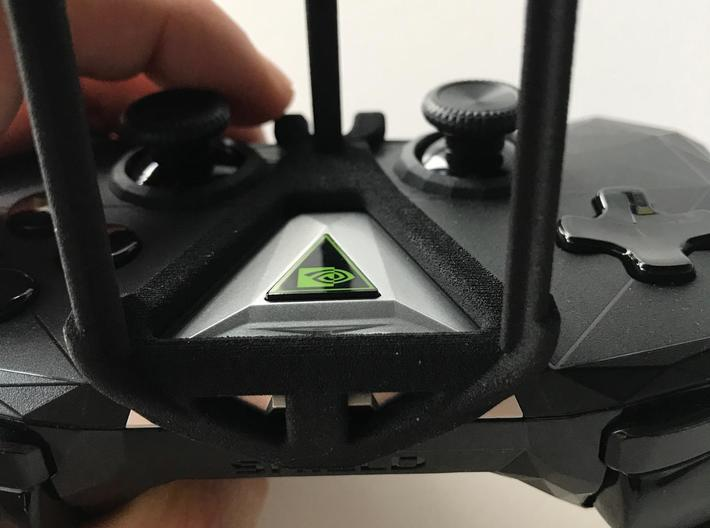 NVIDIA SHIELD 2017 controller & Samsung Galaxy A40 3d printed SHIELD 2017 - Over the top - front view