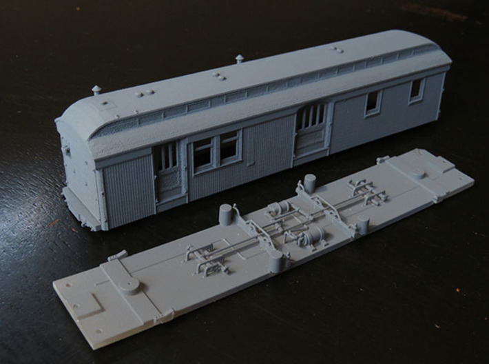 C&S Baggage/RPO Cars 10, 11, 12 FLOOR ONLY 3d printed Photo shows body and floor. This model is for the floor only. Body available separately on this site.
