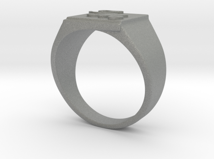Initials Signet ring (size 63) 3d printed