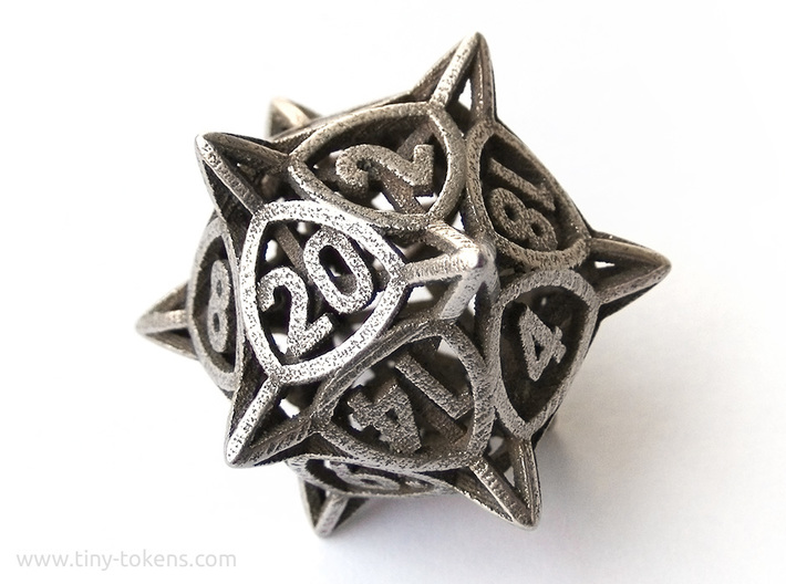 'Center Arc' dice, D20 balanced gaming die 3d printed