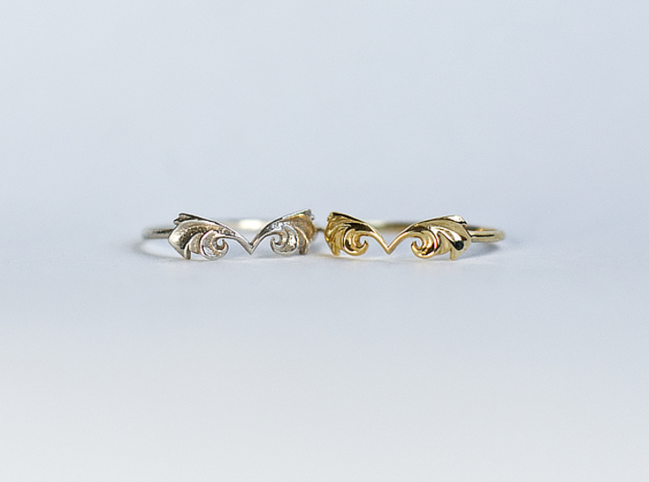 Flutter Ring 3d printed Natural Silver and Polished Brass Finishes