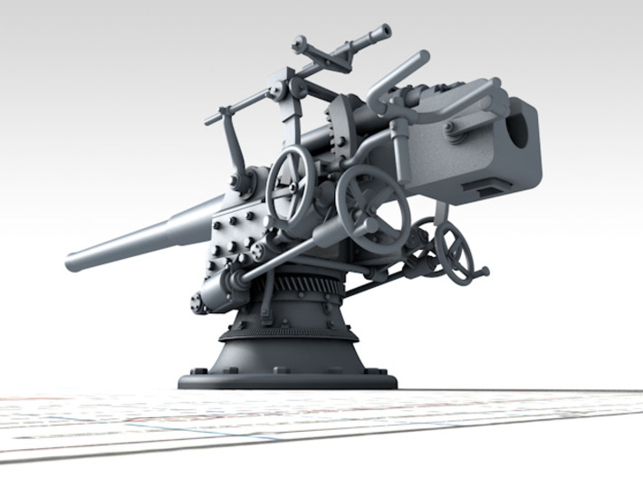 "1/350 German 8.8 cm/45 (3.46"") SK L/45 Guns x4 3d printed 3D render showing product detail"