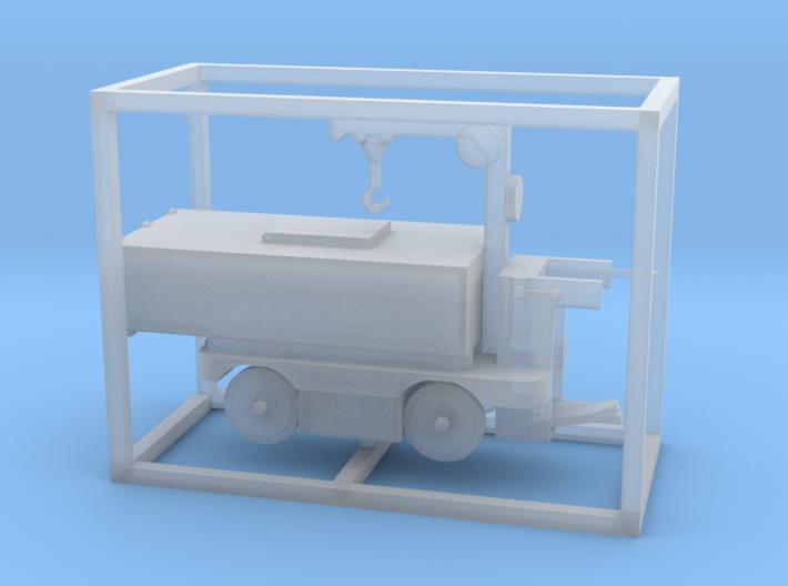E-Karren Müllwagen V2 mit Kran - 1:120 TT 3d printed