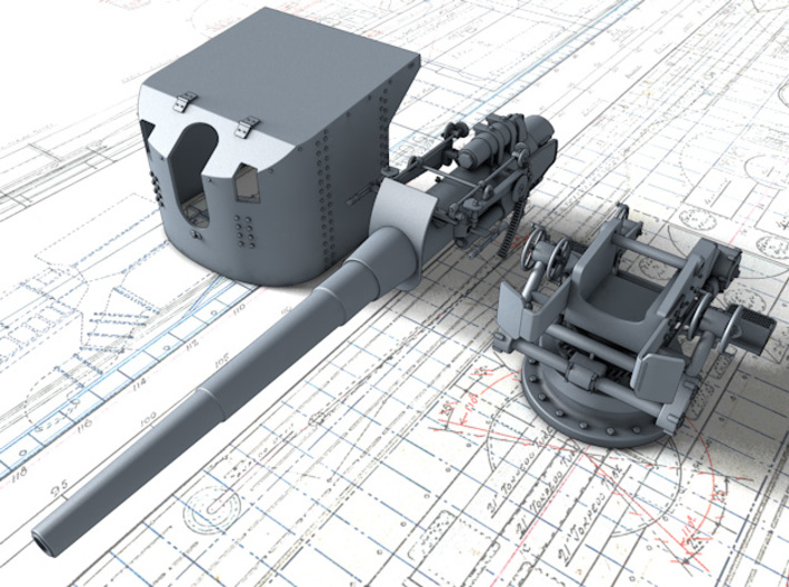 1/144 German 15 cm/45 SK L/45 Gun w. Shield x4 3d printed 3d render showing product parts