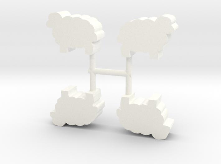 Sheep Meeple, 4-set 3d printed
