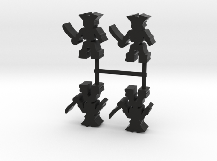 Pirate Skeleton Meeple, 4-set 3d printed
