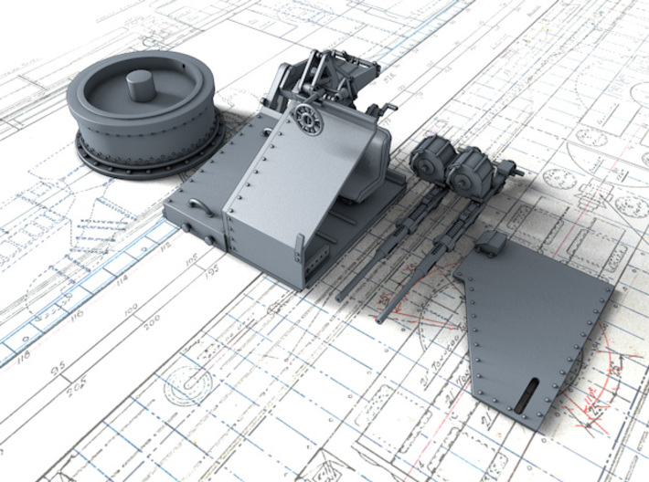 1/48 Twin 20mm Oerlikon Powered MKV Mount 3d printed 3d render showing product parts