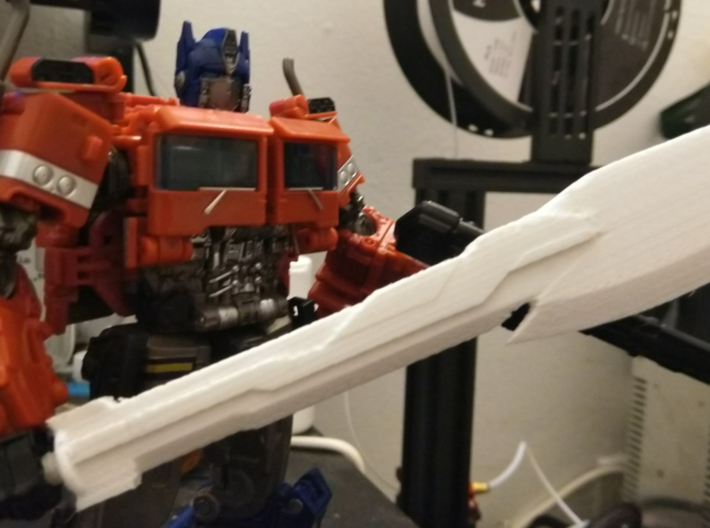 SS-38 Optimus Prime Sword/Axe 3d printed Note, this is only intended for scale purposes and does not represent a product printed by Shapeways