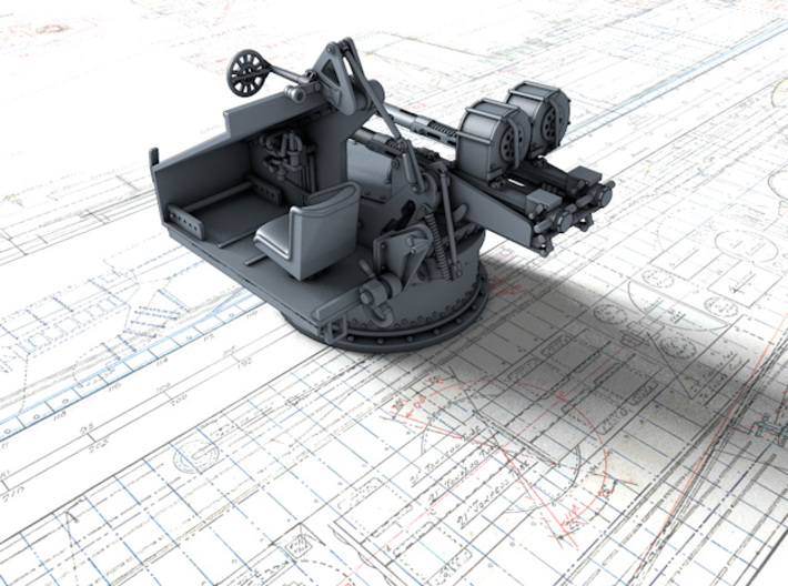 1/128 Twin 20mm Oerlikon Powered MKV Mount x4 3d printed 3d render showing interior detail (without side panel)