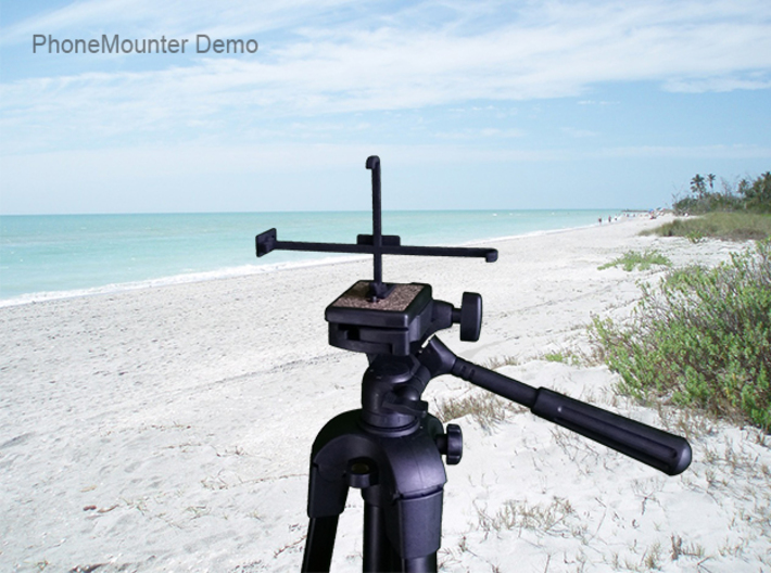 Samsung Galaxy A20e tripod & stabilizer mount 3d printed PhoneMounter mounted on a tripod