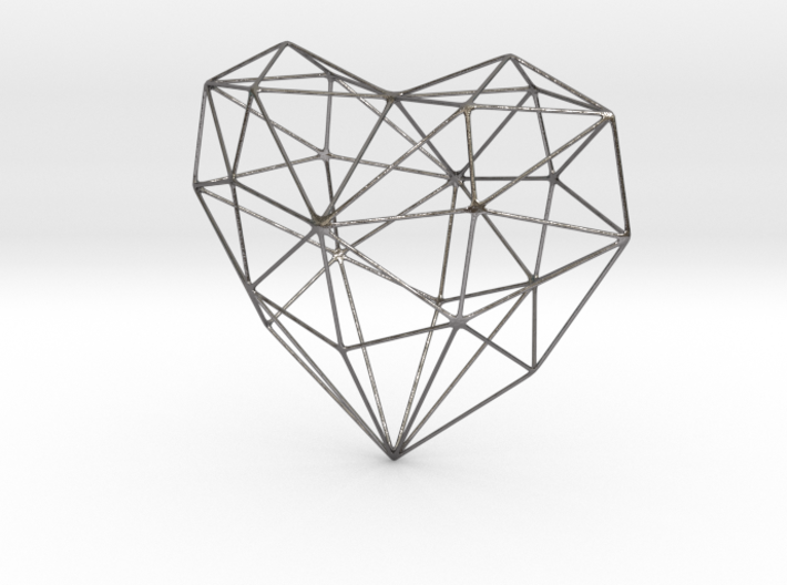 SIMPLE HEART - minimalist wireframe pendant design 3d printed Polished Nickel Steel