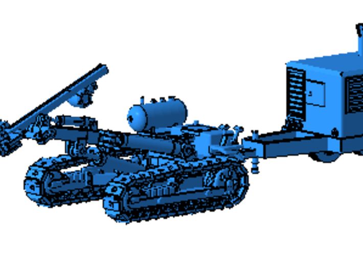 1/87th Ingersoll Rand type Tracked Rock Drill 3d printed Shown with Air Compressor