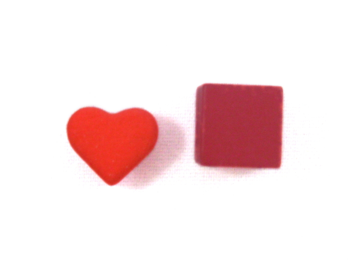 Heart Token, Miniature 3d printed Heart Token next to a 10mm cube for sizing.