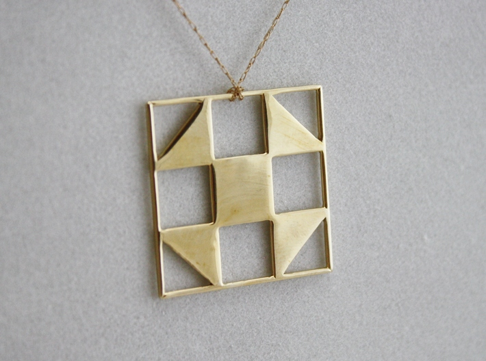 Shoo Fly Quilt Block Pendant 3d printed Polished Brass on Gold Chain (not included)