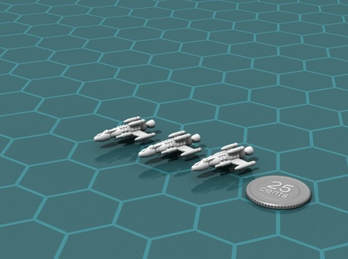 Privateer Springbok Squadron 3d printed Render of the models, with a virtual quarter for scale.