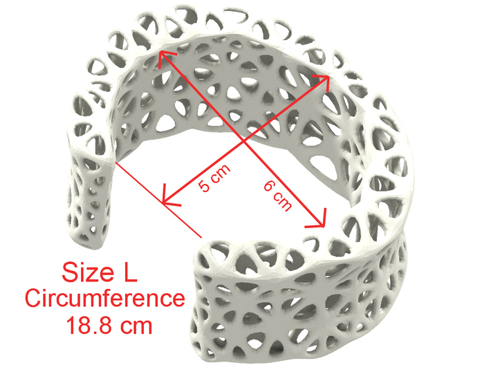 Flowers Cuff (Size L) 3d printed Size Guide L