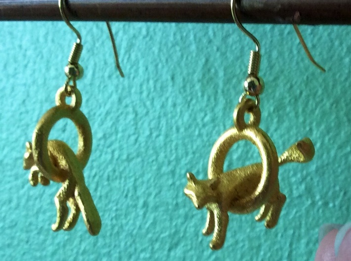 Fox Earrings 3d printed Polished gold steel
