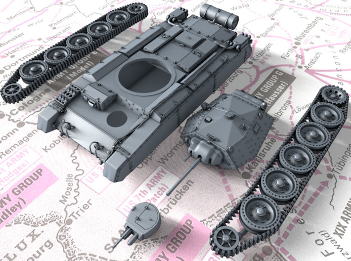 1/72 British Crusader Mk II Medium Tank 3d printed 3d render showing product parts