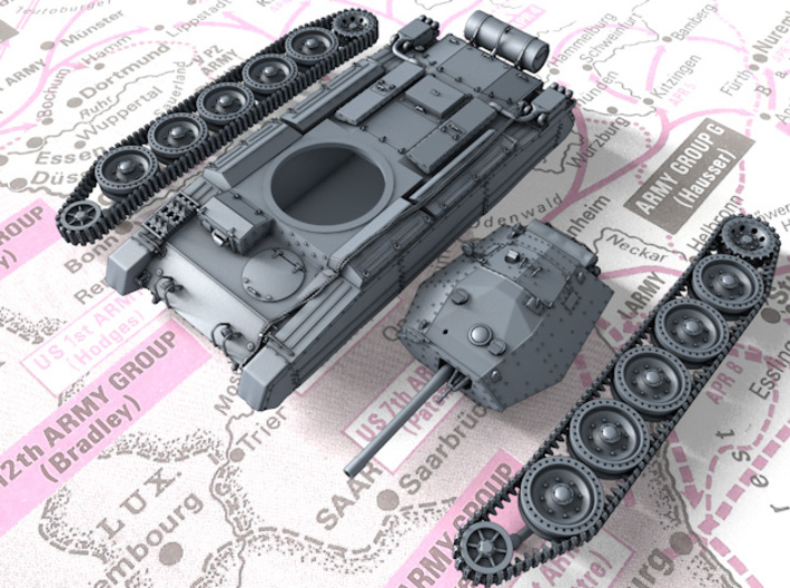 1/144 British Crusader Mk III Medium Tank 3d printed 3d render showing product parts