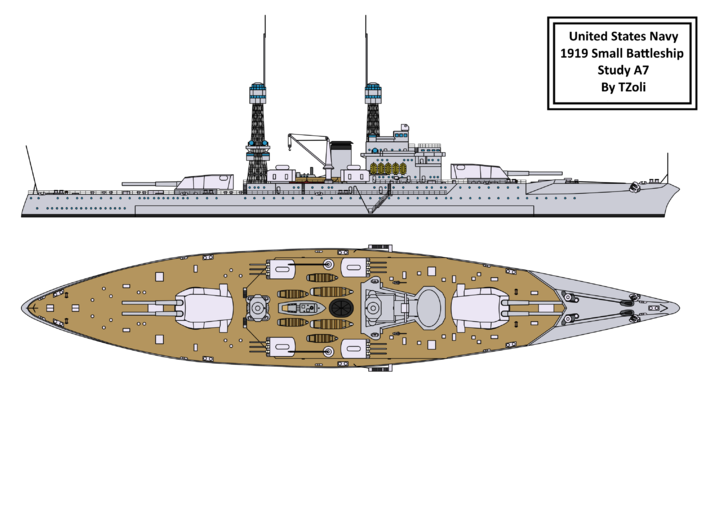 1/350 1919 US Small Battleship Design A7 Bow Water 3d printed
