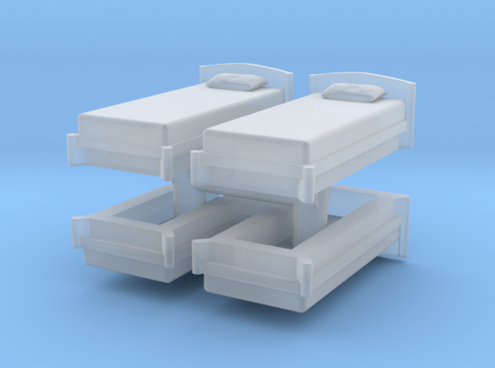 Single Bed (x4) 1/144 3d printed