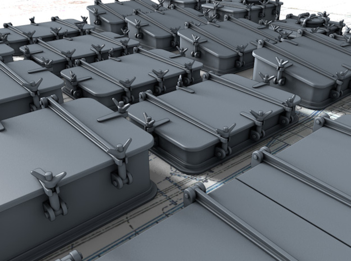 1/56 Scale Royal Navy Deck Hatch Set x18 3d printed 3d render showing product detail